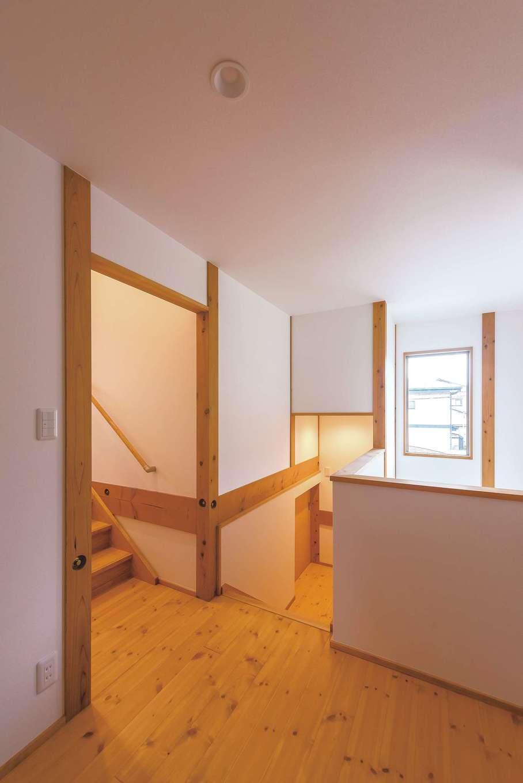 加藤忠男(加藤建築)【和風、自然素材、スキップフロア】ステップを下がると収納、上がると寝室。限られた敷地が有効活用され、延床35.8坪とは思えない豊かさ、便利さが実現