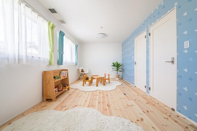 小幡建設【デザイン住宅、収納力、間取り】将来は間仕切りを設け2つに分ける予定の子ども部屋
