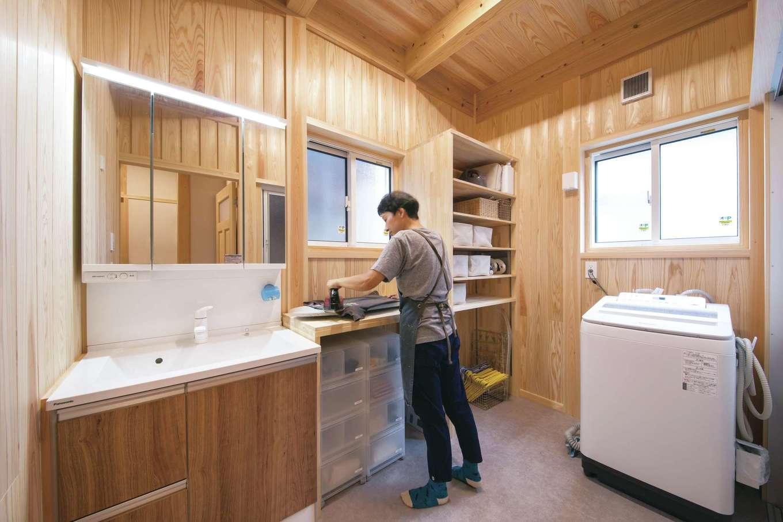 住まい工房 整建【デザイン住宅、和風、間取り】洗濯の作業が1か所でできる家事ラクなランドリー