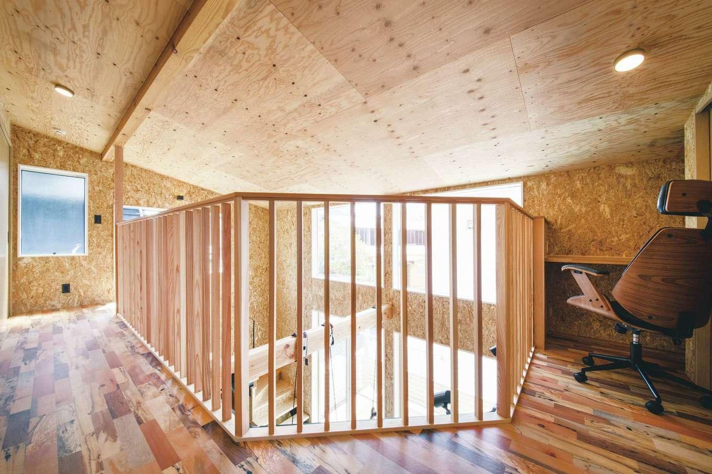 T-style 【1000万円台、趣味、ペット】回廊を思わせる勾配天井の2階ホール。デッドスペースを活かしてご主人の書斎を設けた
