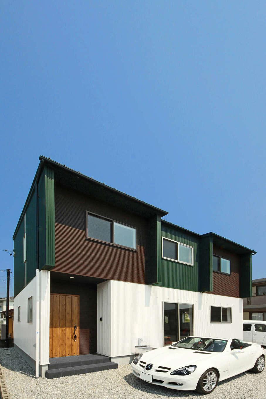 illi-to design 鳥居建設21【デザイン住宅、趣味、インテリア】グリーンと白のコントラストが美しい外観
