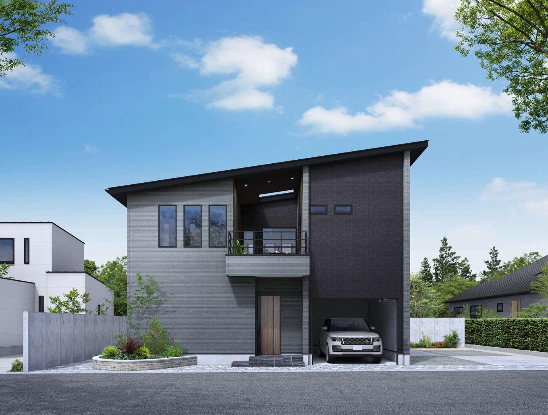 納得住宅工房【静岡市葵区上足洗3-13-49・モデルハウス】JR静岡駅から車で約10分。上足洗の地価は県内でも高めなので、施主さんが実際に新築する時に想定しやすい大きさの40坪弱で設計した。インナーガレージは約6坪で、雨に濡れずに玄関までアクセスできるのが嬉しい。太陽光発電、蓄電池、V2Hを搭載したZEH+レジリエンス住宅仕様