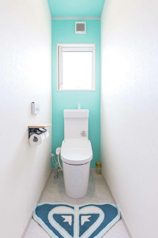 東海ハウス【デザイン住宅、1000万円台、間取り】トイレも爽やかな仕上がり。1階と2階で色を変えている