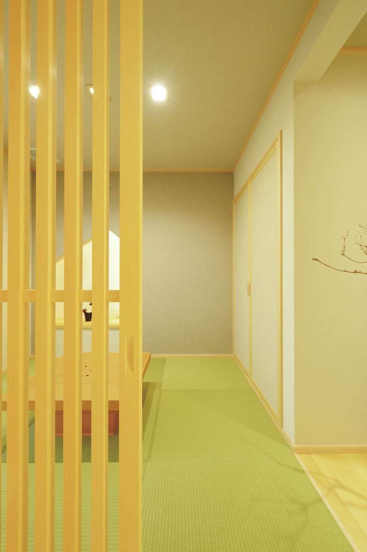 朝日住宅【浜松市東区笠井町982-1・モデルハウス】1階にはフルオーダーした格子戸付きの和室を用意。デザイン、色使いともに遊び心がいっぱい