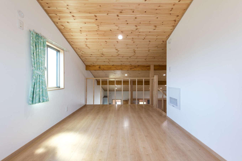 建築システム(狭小住宅専門店)【1000万円台、自然素材、平屋】2階はロフト仕様に。天井が高くなり吹き抜け効果も抜群。場合によっては一部屋を用意できるスペースも設け、可変性を持たせてある