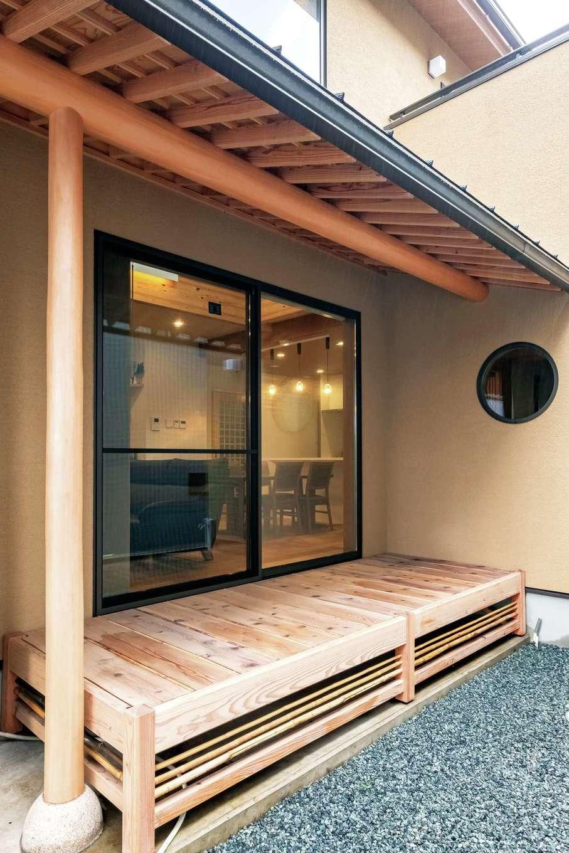 工藤建設【デザイン住宅、和風、間取り】深い軒と竹を入れ込んだ濡れ縁