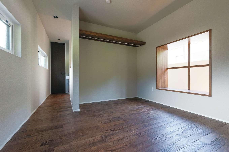 壁もドアもない寝室は開放感たっぷり