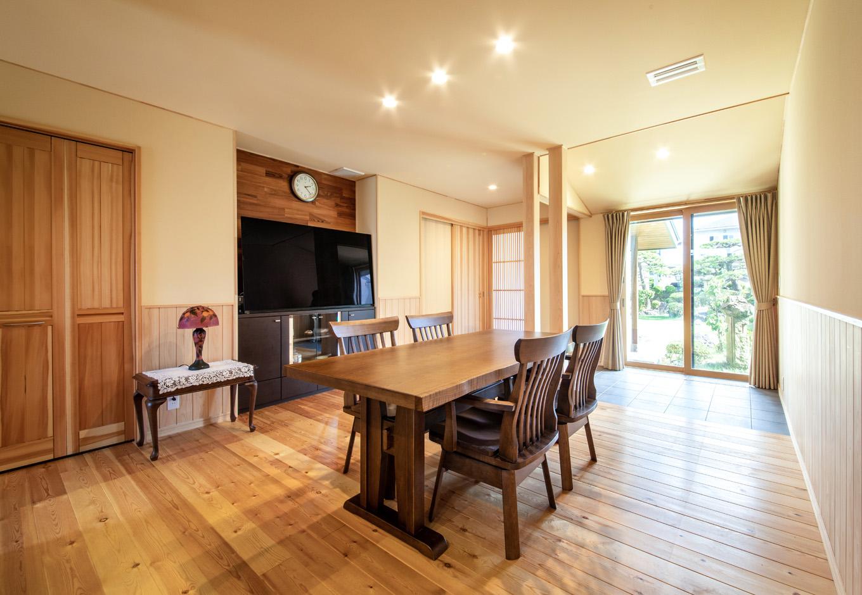 瀧口建設|21.4畳のLDK。床は厚さ30mmのレッドパインで、時とともに飴色に変化していく。熱と空気の流れをデザインする「パッシブエアコン」を搭載したことで、どの部屋にいても同じ温度で快適に過ごすことができる