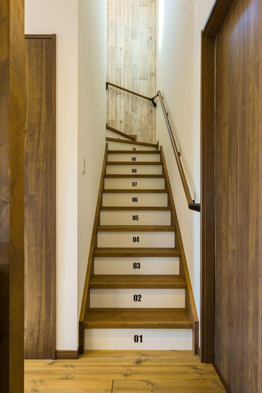 シャレオハウス【豊橋市吉川町65-1・モデルハウス】階段には数字で遊び心をプラス。正面のアクセントクロスは大人気のスクラップウッド柄を使用