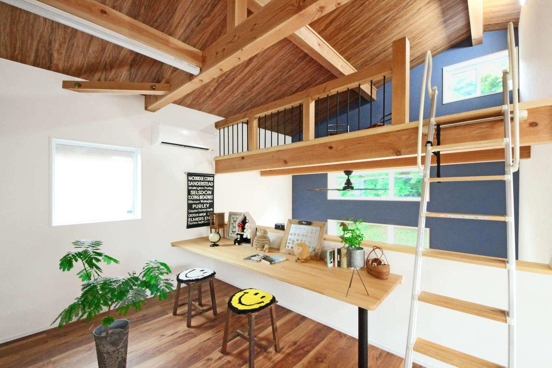 illi-to design 鳥居建設21【デザイン住宅、省エネ、スキップフロア】2階フリースペース。吹抜けにロフトを設けた斬新な設計