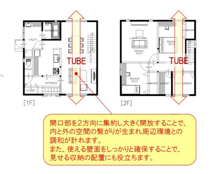 「TUBE」で 光や風を取り込む空間