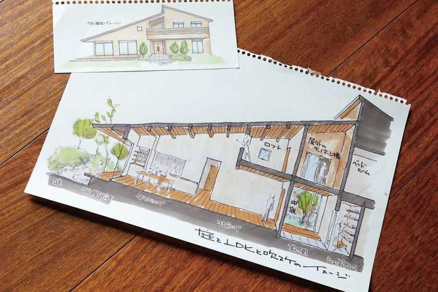 瀧建設 一級建築士事務所【和風、高級住宅、建築家】瀧社長が描くフリーハンドのスケッチは、無機質な図面よりもイメージしやすくワクワク感があると好評