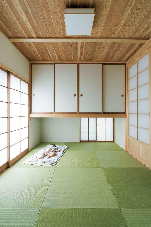 コバヤシ建築【収納力、和風、自然素材】整然とした美しい和室は居心地も良く、次男もぐっすり