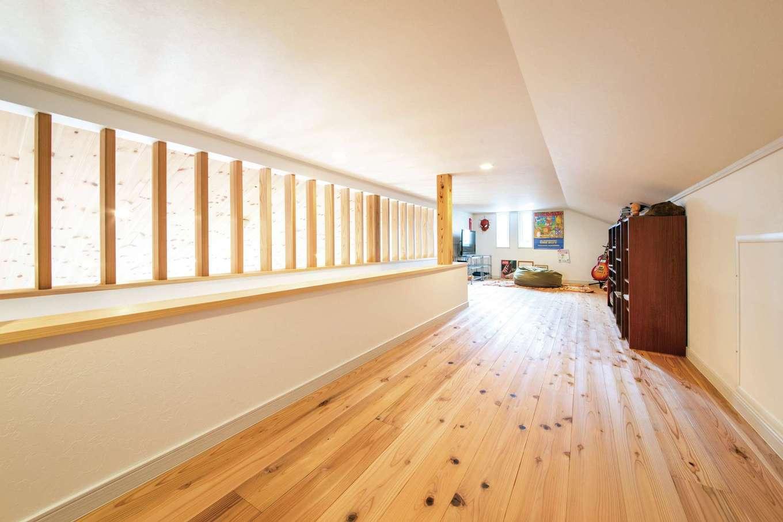 水田建設【デザイン住宅、省エネ、平屋】勾配天井に設けたロフトは収納やご主人の趣味スペースに利用