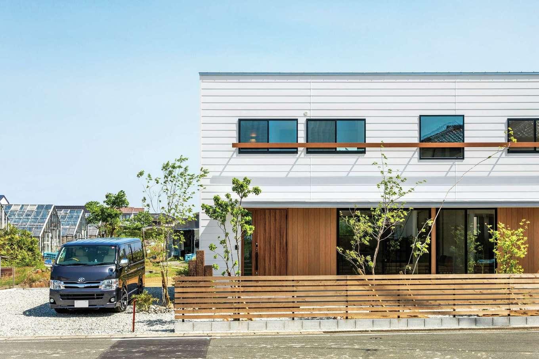 住たくeco工房【1000万円台、デザイン住宅、自然素材】白いガルバリウム鋼板の外壁と、アクセントの無垢材とがバランスよく調和した外観。倉庫風のスタイリッシュなデザインが「木箱house」の特徴。庭のグリーンとも見事にマッチ