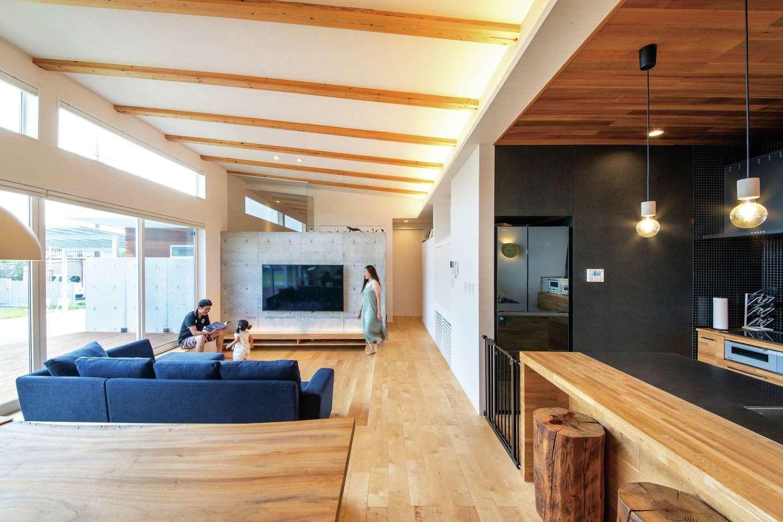 KOZEN-STYLE コバヤシホーム【デザイン住宅、省エネ、平屋】木造で大開口を可能にするSE構法とパッシブデザインを融合。高低差60cmの勾配天井で室内に開放感を出したほか、リビングの床を下げることでゾーン分けした