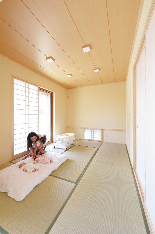 ワイズホーム【自然素材、省エネ、間取り】和室は、地窓・障子・縁付畳を用いて伝統的な落ち着きある空間に