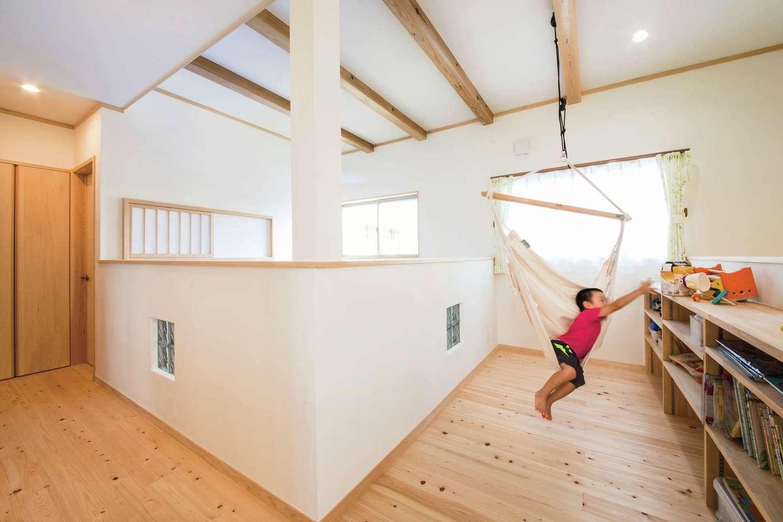 ひのきの家 静岡県家づくり浜松協同組合【子育て、和風、自然素材】フリースペースは子どもが遊べる広々空間