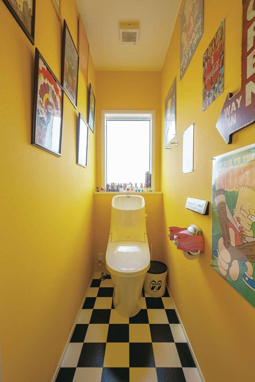 静鉄ホームズ【デザイン住宅、輸入住宅、省エネ】2階トイレは思い切りはじけたレトロポップなアメリカンスタイル