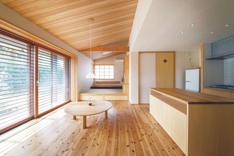 ぴたはうす 安食建設【和風、間取り、平屋】床に座ることを考え、柔らかな杉を採用
