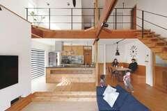 冷暖房1台で夏も冬も快適 大空間リビングのある家
