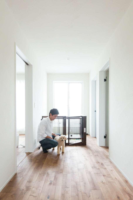 コバケンホーム(小林建設)【子育て】2階のフリースペースはワンちゃんルームに利用。寝室とも近いので、ワンちゃんの様子を常に見守っていられる。姿が見えると尻尾を振って嬉しそうに近づいてくる姿が愛おしい
