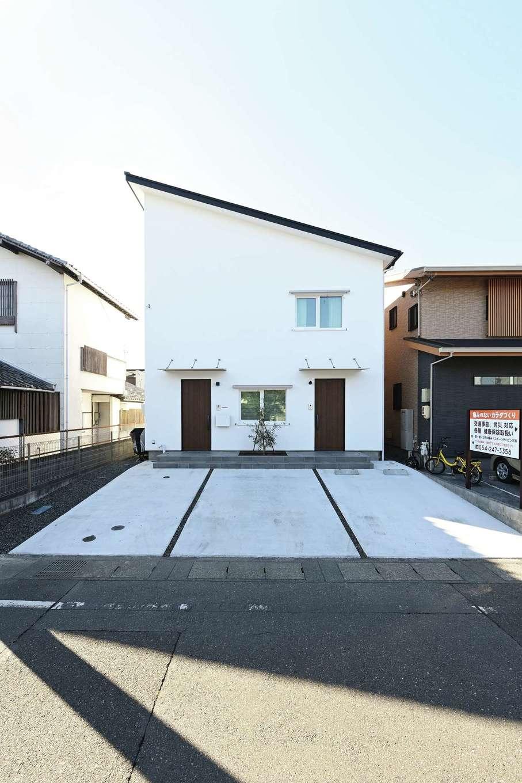 低燃費住宅 静岡(TK武田建築)【子育て、自然素材、省エネ】片流れ屋根が目を引く外観。外壁はメンテナンスフリーのアルセコ。ダブル断熱で壁内結露がない
