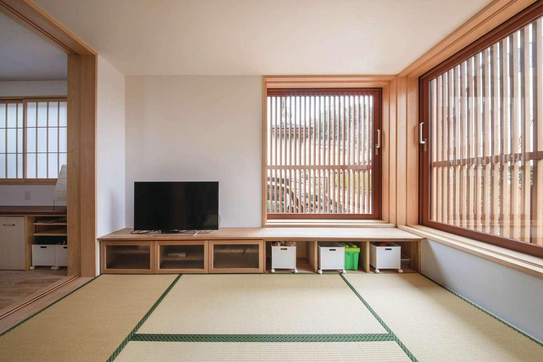 ぴたはうす 安食建設【デザイン住宅、和風、省エネ】畳リビングはダイニングと障子戸で仕切ることもできる