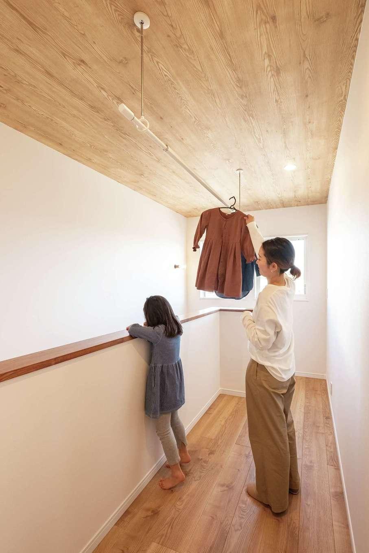 興友ハウス【デザイン住宅、子育て、間取り】ベランダをつくらず、室内干しのスペースを確保