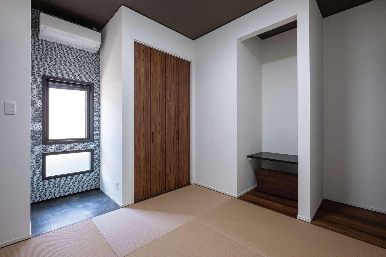 静鉄ホームズ【デザイン住宅、収納力、間取り】モダンなつくりながら、仏間や床の間を備え、和室の機能を果たす