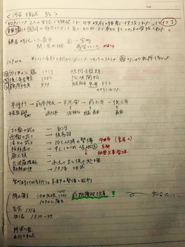 日本史の勉強をノートにまとめた河合模試