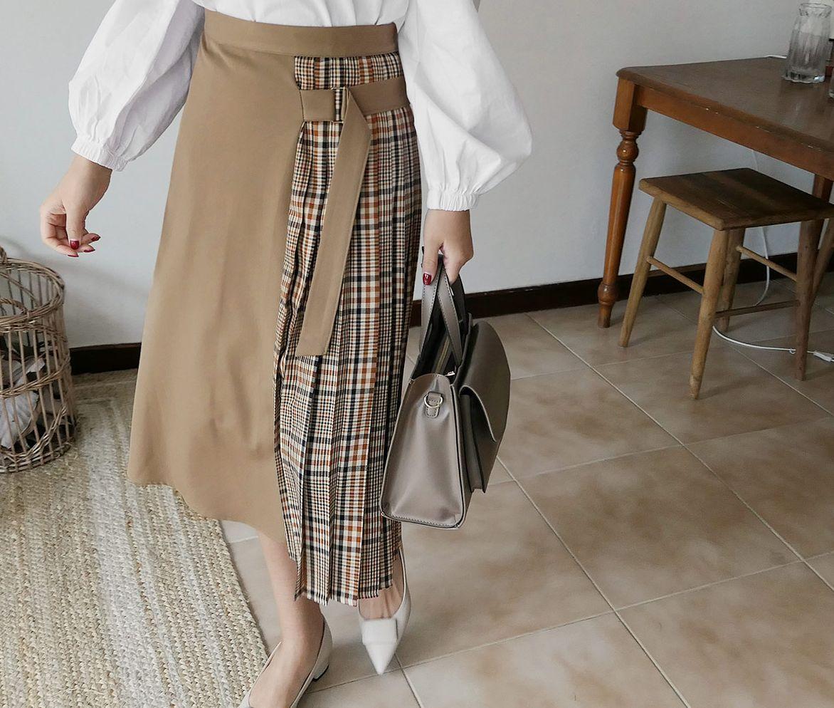 サイドチェックプリーツスカート(提供写真)