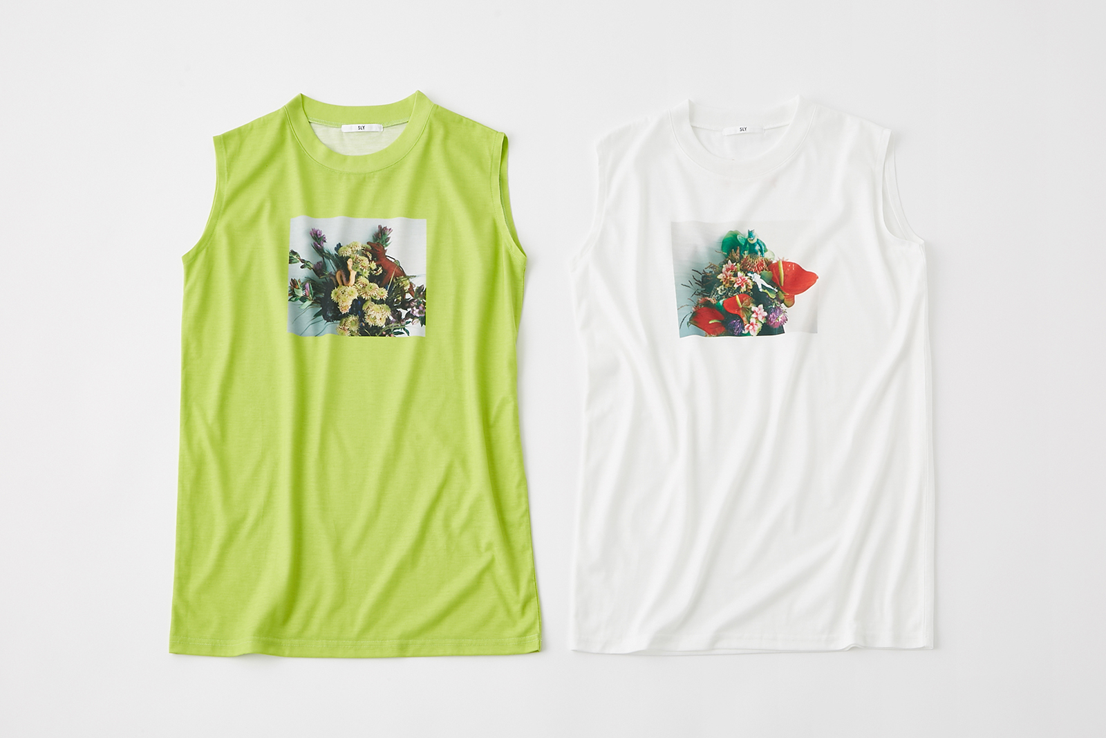 FLOWER PHOTO TANK TOP¥4,990 +税、COLOR:LIGHT、GREEN、WHITE、SIZE:FREE(提供写真)
