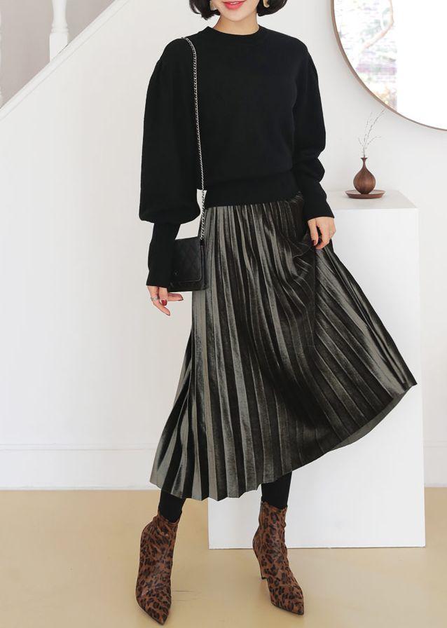 ウエストゴムベロアプリーツスカート(提供写真)