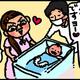 【子育て絵日記4コママンガ】つるちゃんの里帰り|(38)モロー反応(0歳0ヶ月頃)