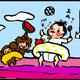 【子育て絵日記4コママンガ】つるちゃんの里帰り|(108)寝相アート・実践編その1(0歳2ヶ月頃)