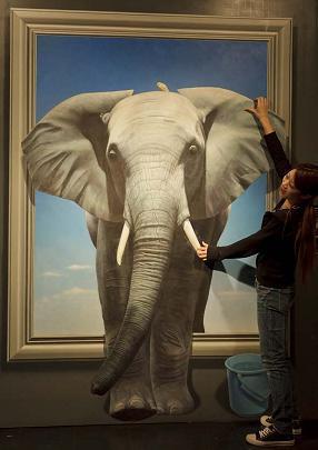 象のトリックアート,体験,北海道,美術館