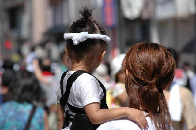 親子で祭り見物,岸和田,だんじり,祭