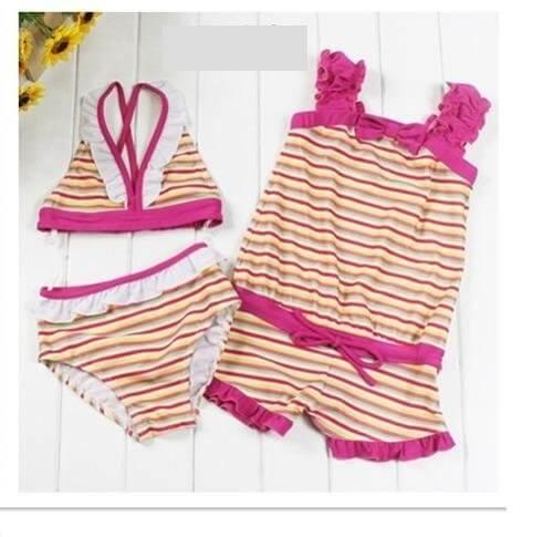 ビキニ ロンパース つなぎ 水着 子供 女の子 ボーダー柄 3点セット 各サイズ (130, レインボー×レッド),女の子,子供水着,
