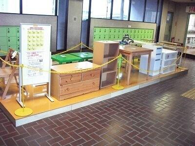 横浜市 資源循環局 都筑工場のリユース家具展示風景,横浜市,資源循環局, 都筑工場