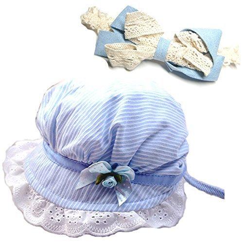 SARA STORE 赤ちゃん ベビー 男の子 女の子 帽子 退院 お出かけ お散歩 UV対策 日焼け対策 ヘアバンド セット (ブルー),ベビー,ヘッドアクセ,