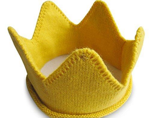 (ロータスライフ)LOTUS LIFE 王冠 ベビー用 ニット 1歳 誕生日 記念日 100日 お食い初め など イベント 写真撮影に (イエロー),ベビー,ヘッドアクセ,
