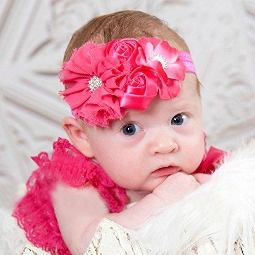 新生児 赤ちゃん 大型の花 デザイン 髪飾り ベビー&キッズ ベビー ヘアバンドお花柄 (レッド),ベビー,ヘッドアクセ,