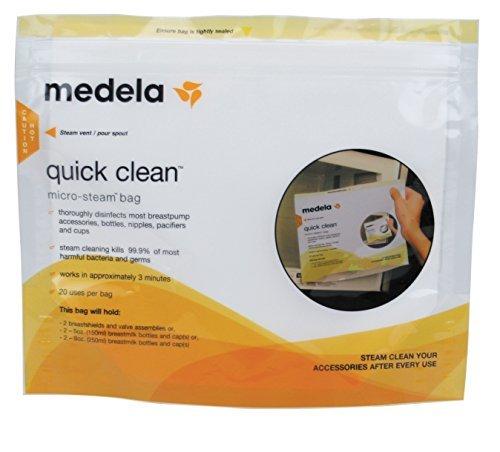 メデラ(medela) 電子レンジ除菌バッグ(5パック) クイッククリーン スチームバッグ,哺乳瓶,除菌,方法