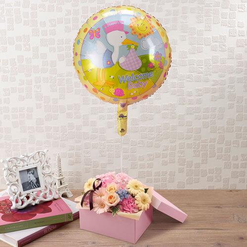 「WelcomeBaby」(出産祝い)バルーンとアレンジメント,出産祝い,花,