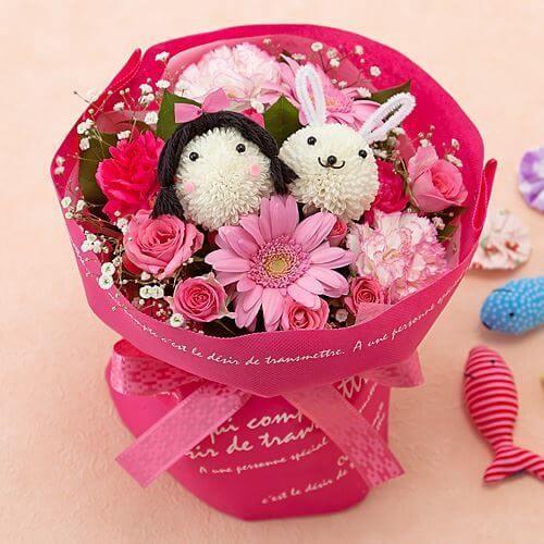 花束「わたしとウサギの花畑」|,出産祝い,花,