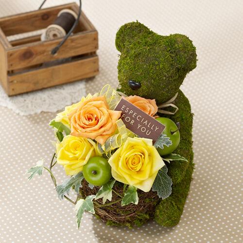 アレンジメント「モスベア~イエローROSE~」,出産祝い,花,