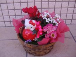 ハローキティのフラワーバスケット,出産祝い,花,