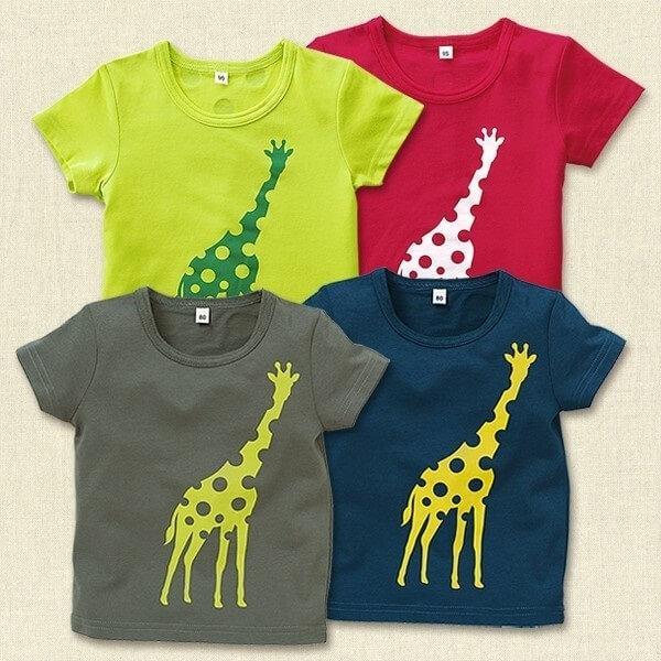 キリンドットシルエットプリント半袖Tシャツ,西松屋,子供服,
