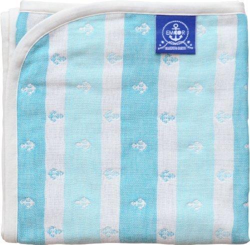 エムール ベビー用 ガーゼケット 90×120cm イカリボーダー 日本製 アクアブルー [Baby Product],出産祝い,タオルケット,